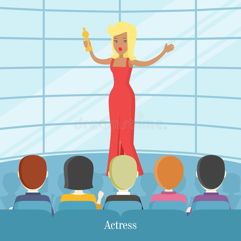 Superstar dell'attrice Donne davanti al pubblico illustrazione di stock
