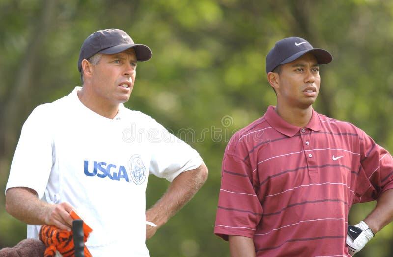 Superstar Tiger Woods de golf de PGA et caddie Steve Williams photo stock