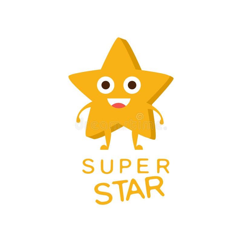 Superstern-Wort und entsprechende Illustration, Zeichentrickfilm-Figur Emoji mit den Augen, die den Text veranschaulichen vektor abbildung