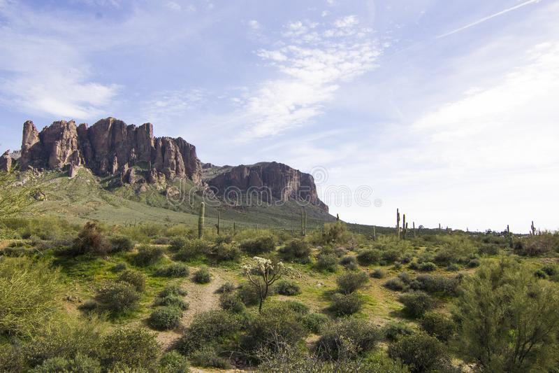 Superstition Mountain at Lost Dutchman Park stock photo