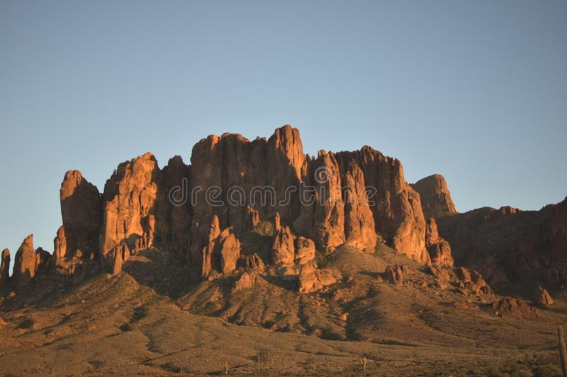 The Superstition Mountains in Arizona stock photo