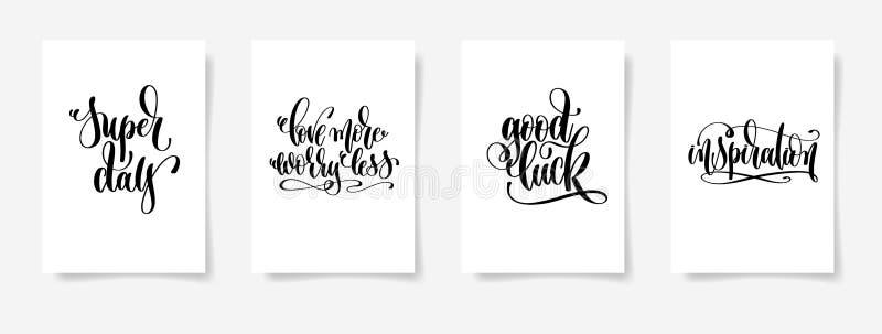 Supertag, lieben mehr Sorge weniger, gutes Glück, Inspiration vektor abbildung