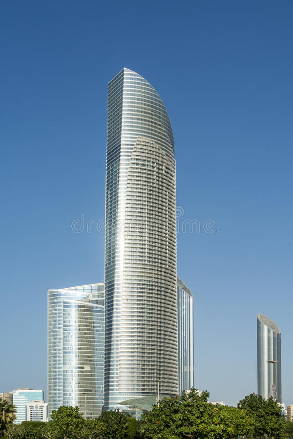 Supertall skyscrapers Abu Dhabi. Supertall skyscrapers in Abu Dhabi, in the middle The Landmark. UAE, United Arab Emirates royalty free stock image