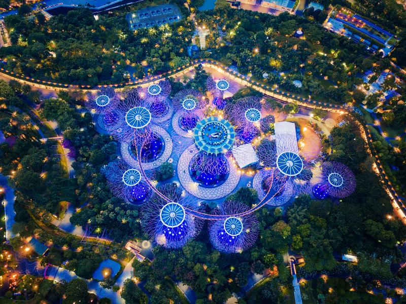Supertree Grove. Garden by the bay in Marina Bay area, Singapore. City . Aerial view at night stock images