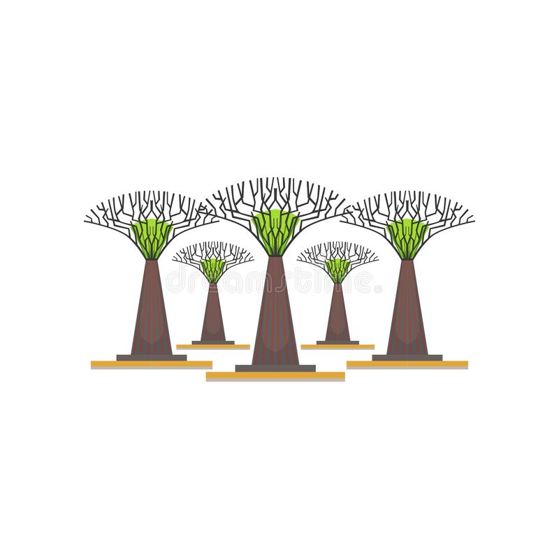 Supertrees in the Garden by the Bay, Singapore vector Illustration. On a white background vector illustration