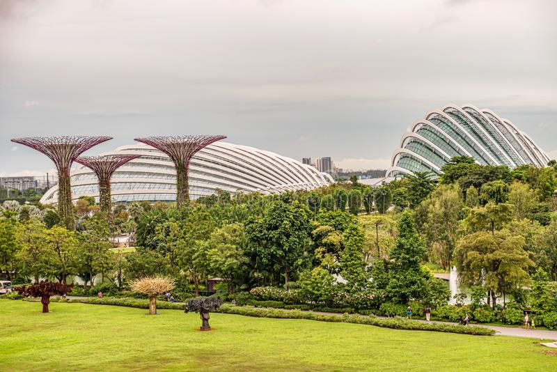 Supertrees, Supertree Grove at Gardens by the Bay in Singapore. Singapore Jan 14, 2018: Supertree Grove, Unique vertical gardens resembling towering trees, with royalty free stock photography