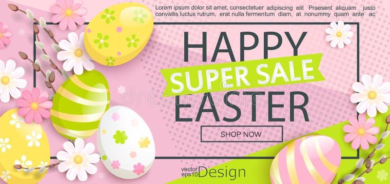 Superverkaufsflieger für fröhliche Ostern lizenzfreie abbildung