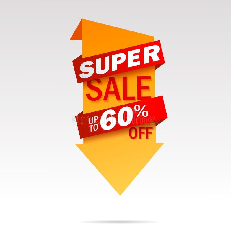 Superverkaufspfeil-Fahnentag entziehen Sie Hintergrund Bekanntmachen des Plakats Auch im corel abgehobenen Betrag lizenzfreie abbildung