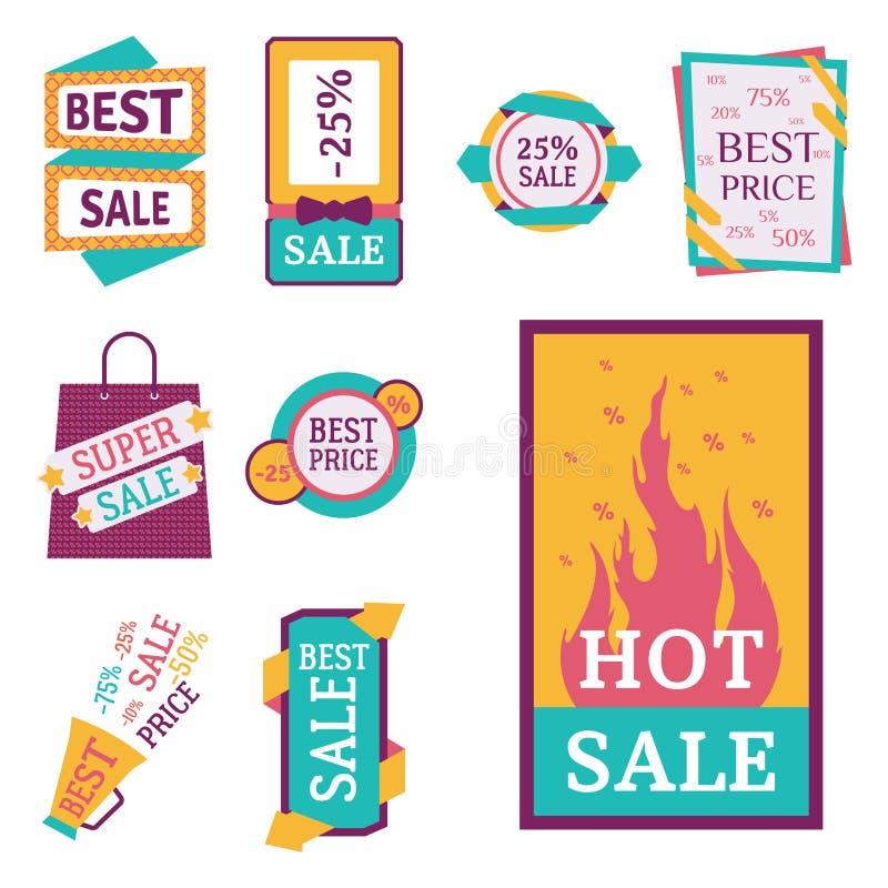 Superverkaufssimsen Extraprämienfahnen in Farbe gezeichneter Aufklebergeschäftseinkaufsinternet-Förderungsvektorillustration vektor abbildung
