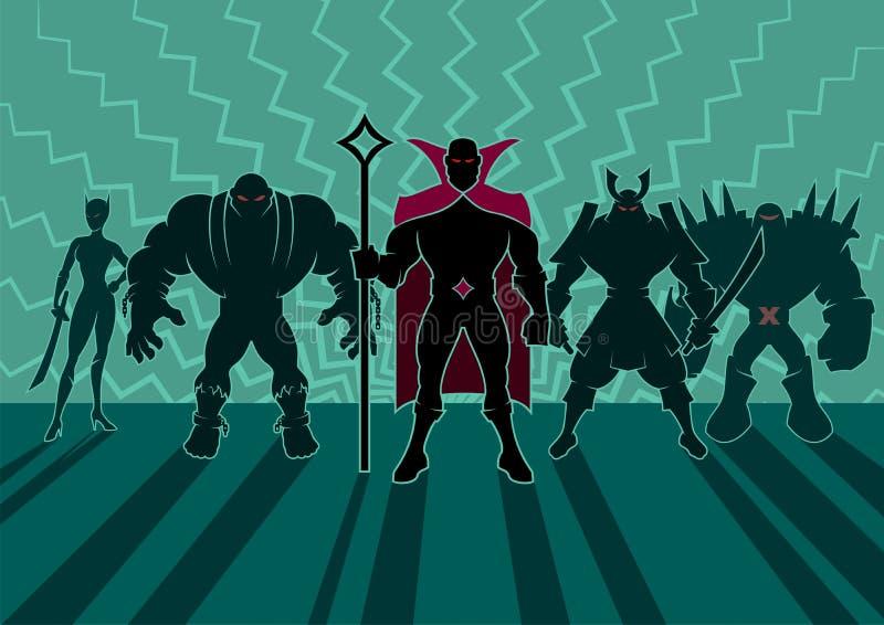 Supervillainteam royalty-vrije illustratie