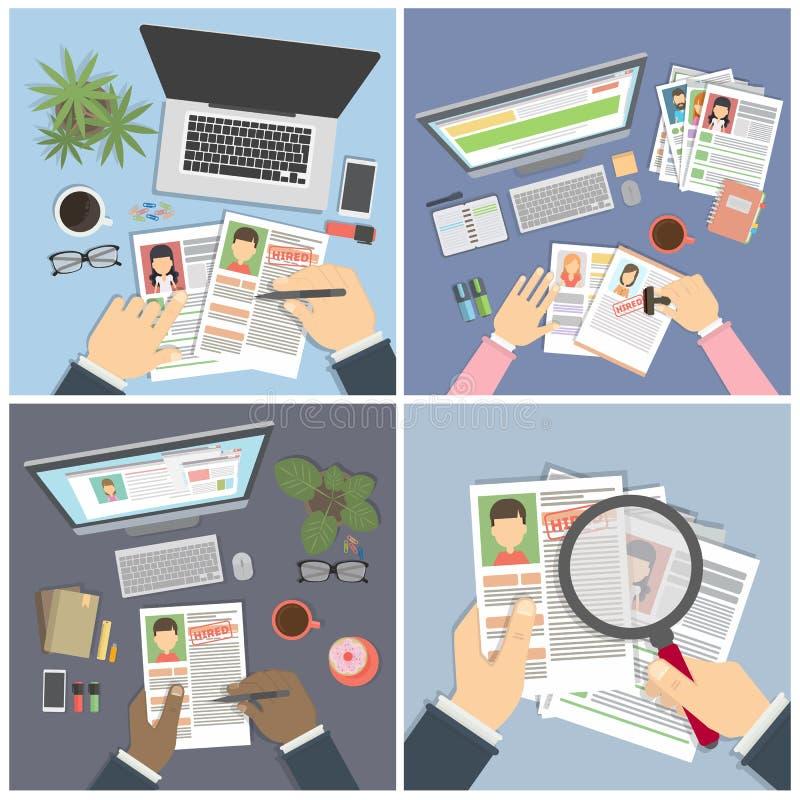 Supervisando y aceptando el curriculum vitae stock de ilustración