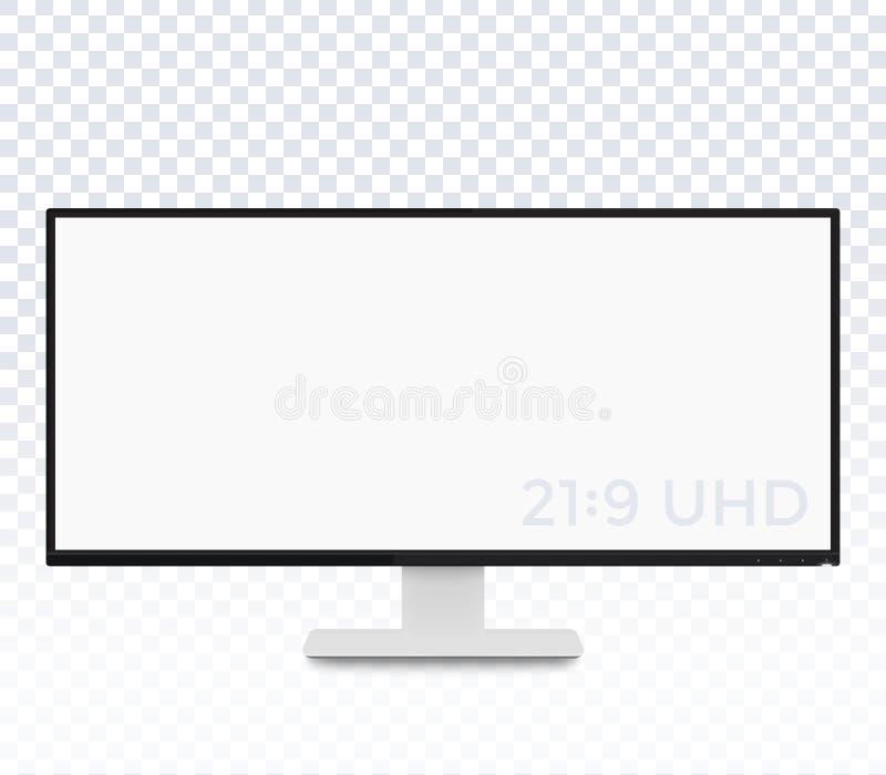 Supervise la maqueta, exhibición con la pantalla ultra ancha ilustración del vector