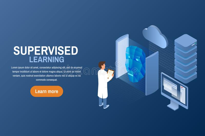 Supervised learning task concept. Artificial intelligence. Isometric vector illustration vector illustration