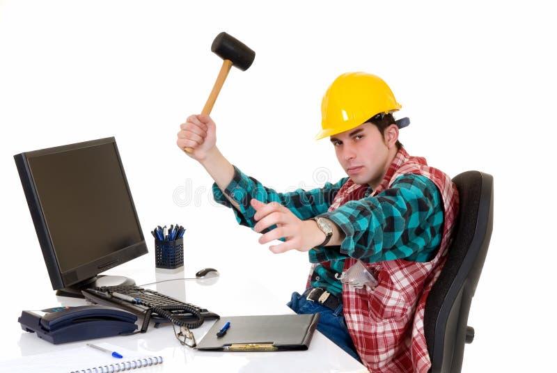 Superviseur de construction fâché image stock