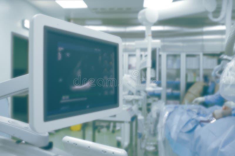 Supervisión del ultrasonido de la función del corazón en el eq de la sala de operaciones fotografía de archivo