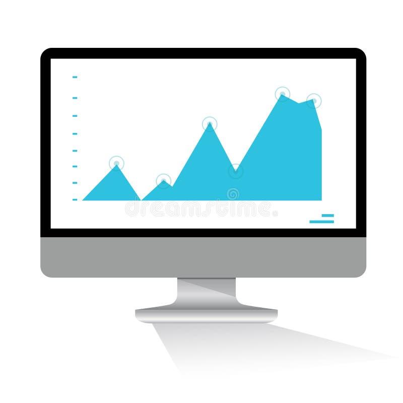 Supervisión, ordenador y gráfico de los datos stock de ilustración