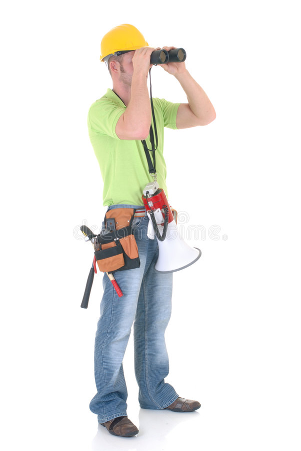 Supervisor com megafone imagem de stock