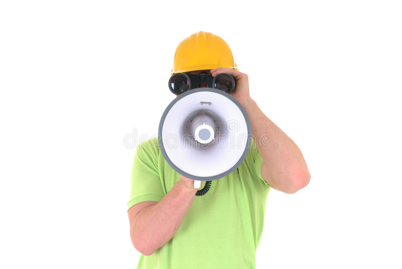 Supervisor com megafone fotos de stock royalty free