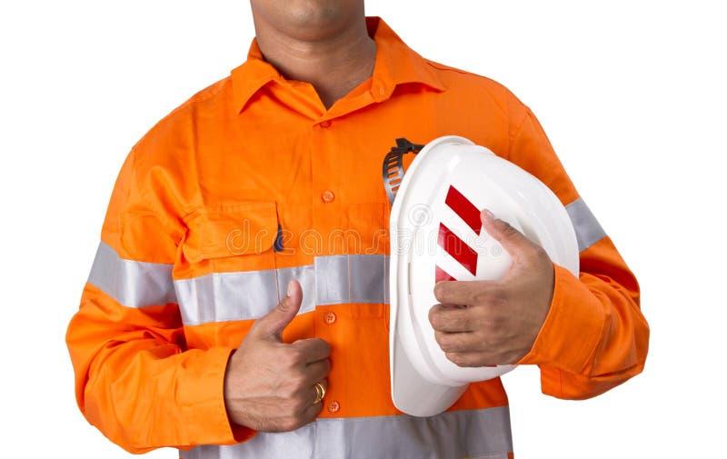 Supervisor con el casco de la construcción y la alta camisa de la visibilidad imagen de archivo libre de regalías
