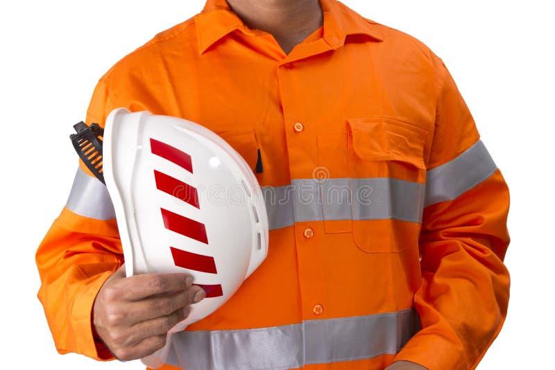 Supervisor con el casco de la construcción y la alta camisa de la visibilidad foto de archivo libre de regalías