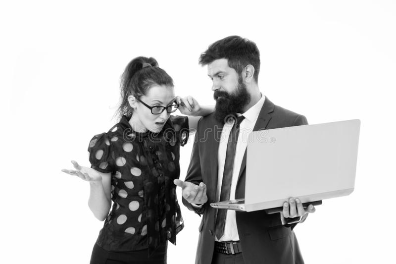 Supervisor concept. Couple working using laptop. Business lady check what is done. Outrageous result. Lady boss. Unsatisfied with business indicators. Manager royalty free stock photos