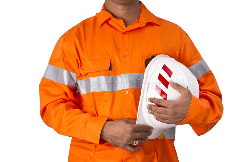 Supervisor with construction hard hat and high visibility shirt royalty free stock photography
