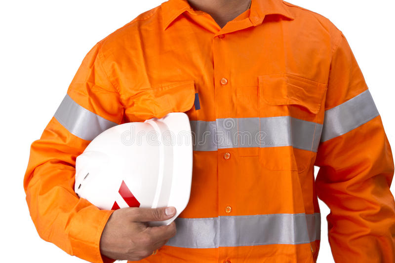 Supervisor with construction hard hat and high visibility shirt stock image