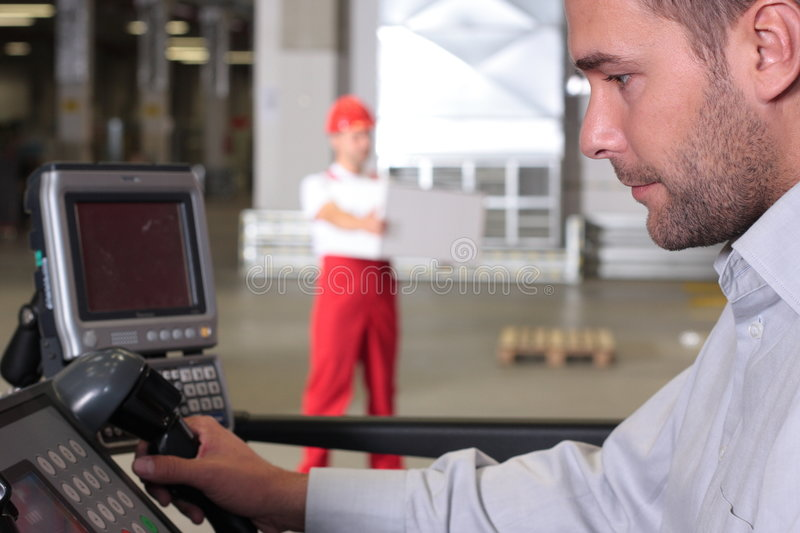 Download Supervisor At Control Panel In Factory Stock Photo - Image: 6338310
