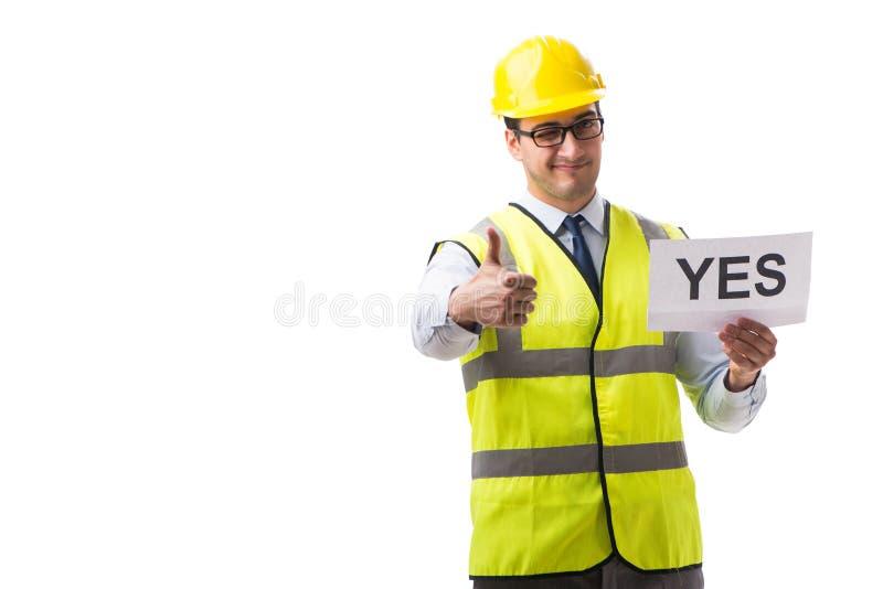 Supervisor da construção com o asnwer do yes isolado no backgr branco fotografia de stock royalty free