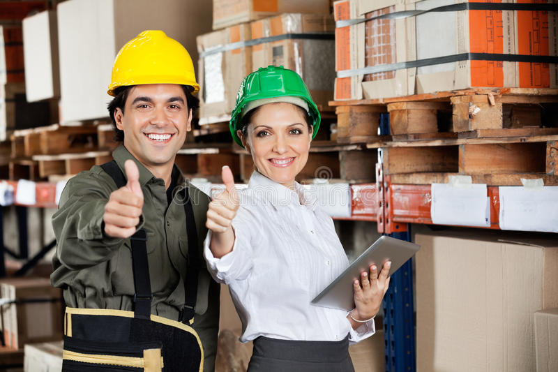 Download Supervisor And Foreman Gesturing Thumbs Up Stock Photo - Image: 36984004