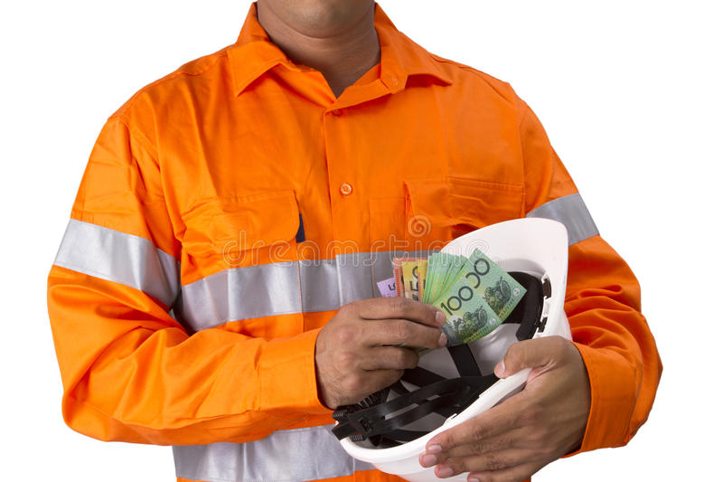 Supervisor u hombre del trabajo con la alta tenencia de la camisa de la visibilidad y c fotografía de archivo
