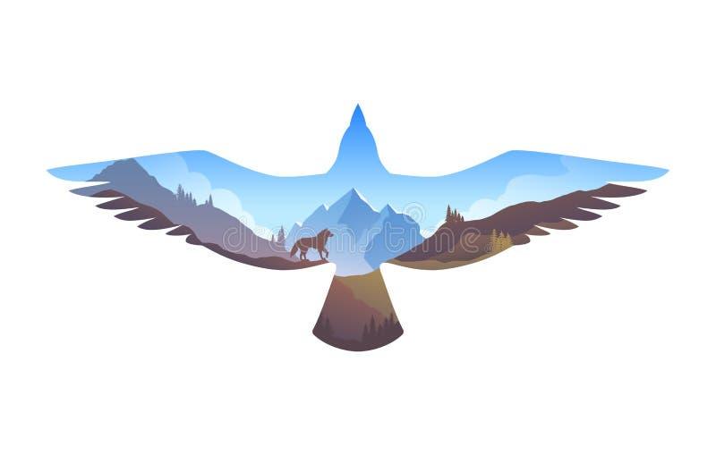 Supervivencia en el salvaje Paisaje de la montaña en silueta del águila En el salvaje Ejemplo con efecto de la exposición doble ilustración del vector