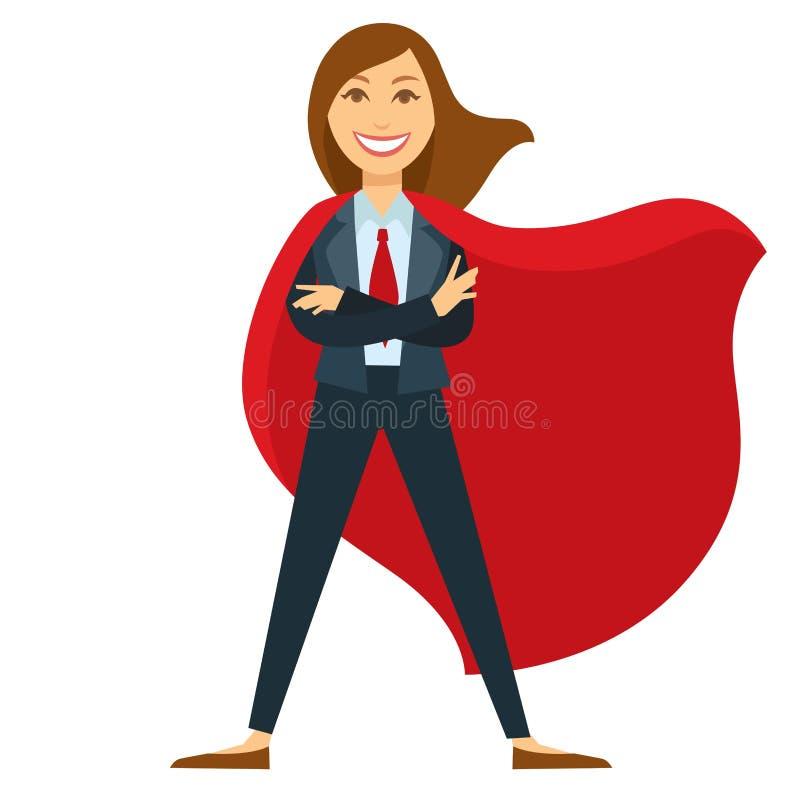 Superwoman dans le costume formel de bureau avec le lien et le manteau rouges illustration stock