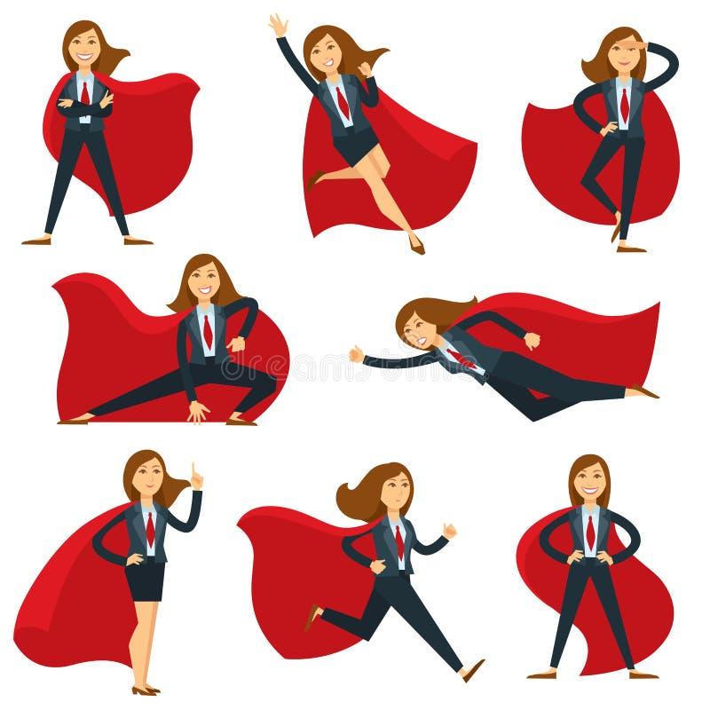 Superwoman ou gestor de escritório super da mulher em ícones lisos do caráter do vetor do traje do super-herói ilustração stock