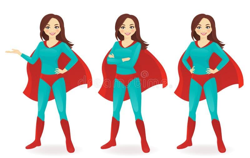 Superwoman set vector illustration