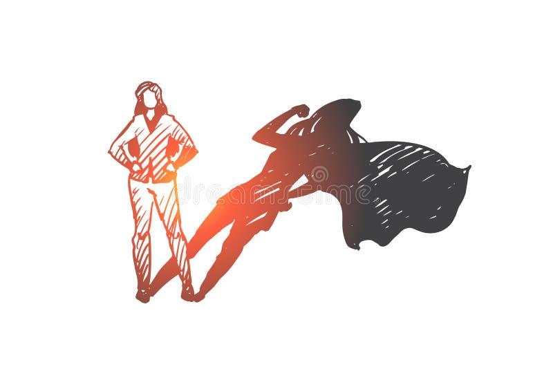 Superwoman självkänsla, affärsman, potentiellt begrepp Hand dragen isolerad vektor royaltyfri illustrationer