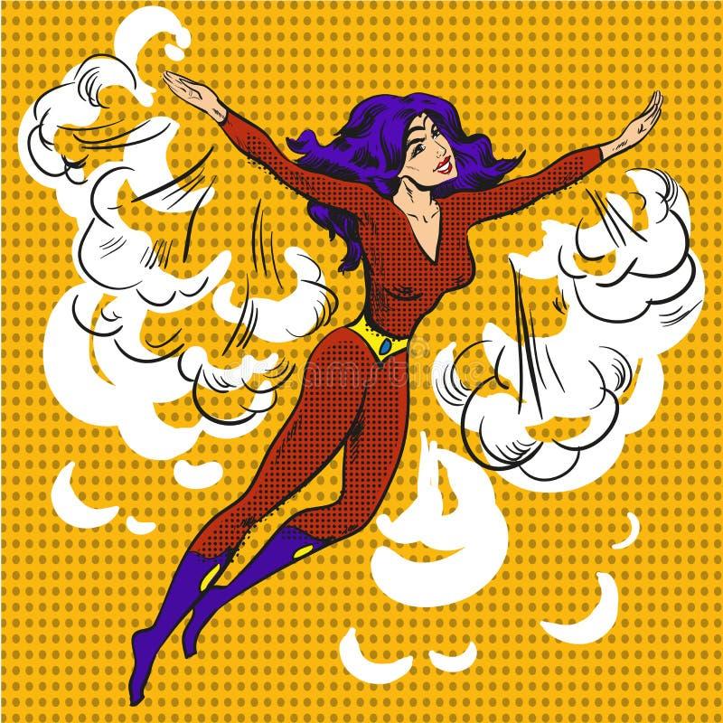 Superwoman tirado mão do pop art do personagem de banda desenhada do vetor ilustração do vetor