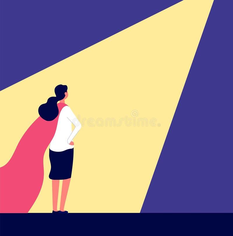 superwoman Vrouw in rode kaap in schijnwerper, het kandidaat kiezen en talentenmensen het selecteren De carrièregroei, het aanwer vector illustratie