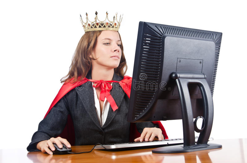 Download Superwoman Worker With Crown Stock Photo - Image: 28135138