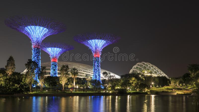 Supetree Grove, Flower Dome and Cloud Forest Dome at night at the Gardens by the Bay in. Singapore, Singapore - October 16, 2018: Supetree Grove, Flower Dome and stock image