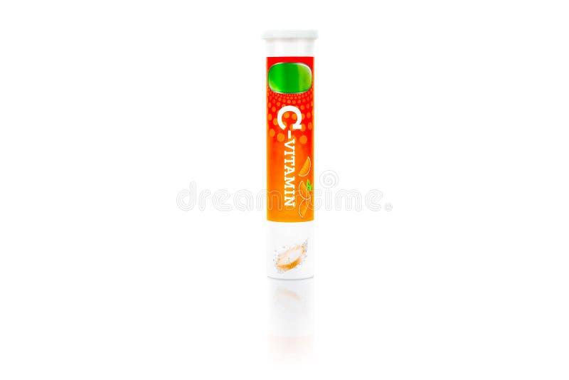 Suplemento alimenticio Un paquete del tubo de tabletas efervescentes de la vitamina C imagen de archivo libre de regalías