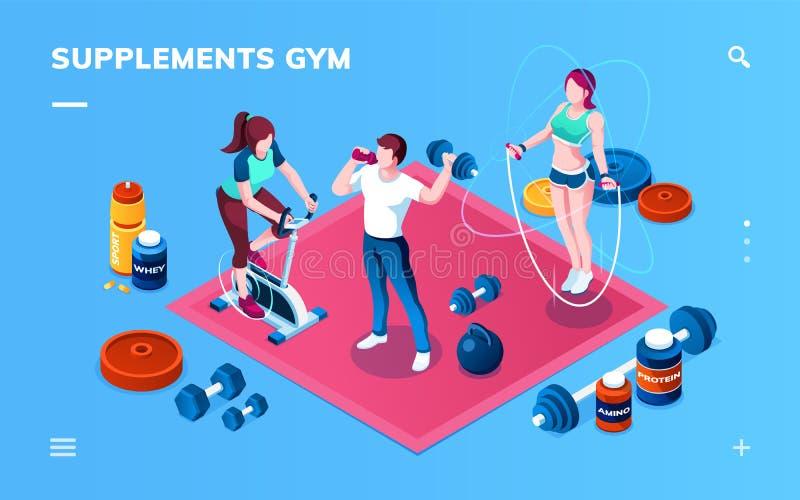 Suplemento ao Gym, exercício ou aplicação da aptidão ilustração do vetor