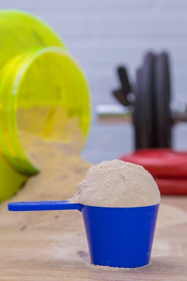 suplemento de polvo de proteínas o dumbbell fotografía de archivo
