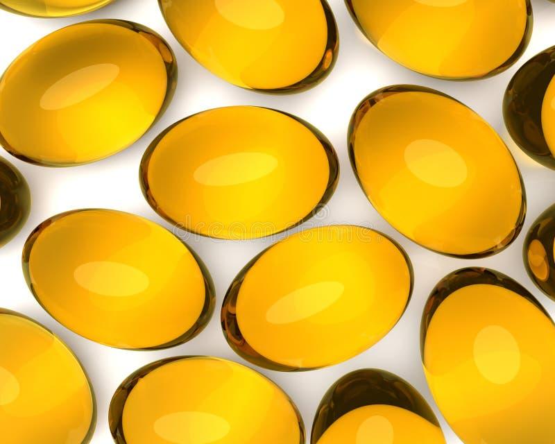 Suplementos ao óleo em cápsulas macias do gel ilustração royalty free