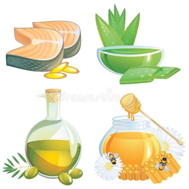 Suplementos saudáveis ao alimento foto de stock royalty free