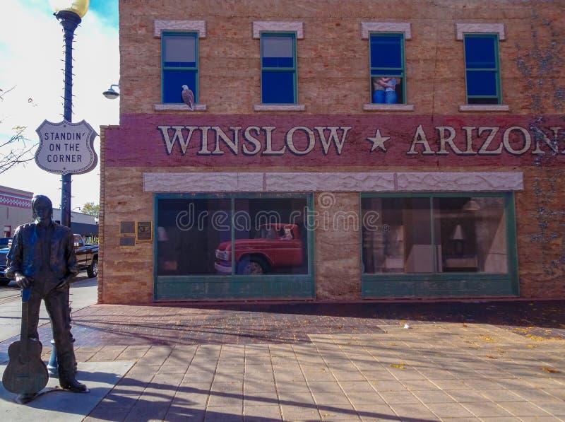 Suplente em Winslow Arizona de canto fotografia de stock