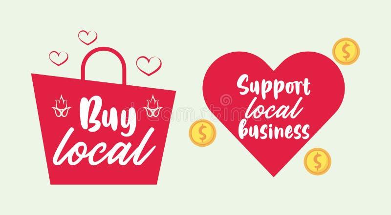 Suportar cartaz comercial local com saco de compras e coração ilustração stock
