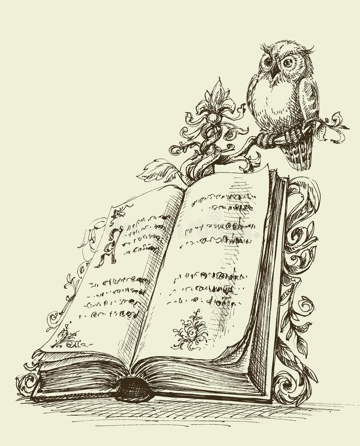 Suporte aberto do vintage do livro e coruja bonito ilustração stock