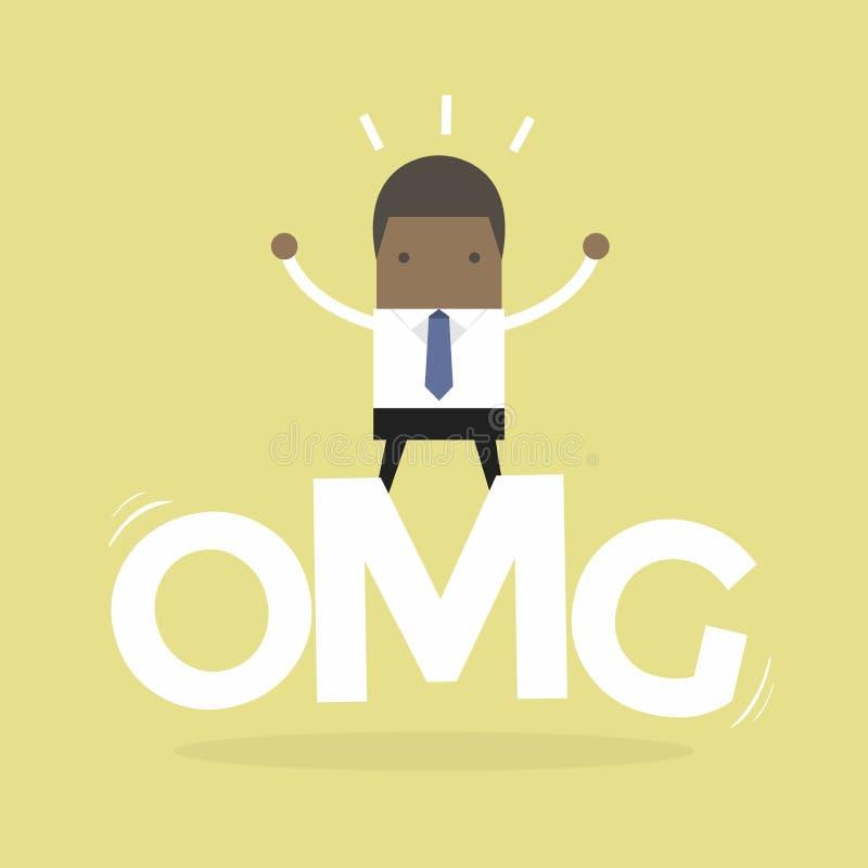 Suporte africano da surpresa do homem de negócios oh em minha palavra do deus ilustração do vetor