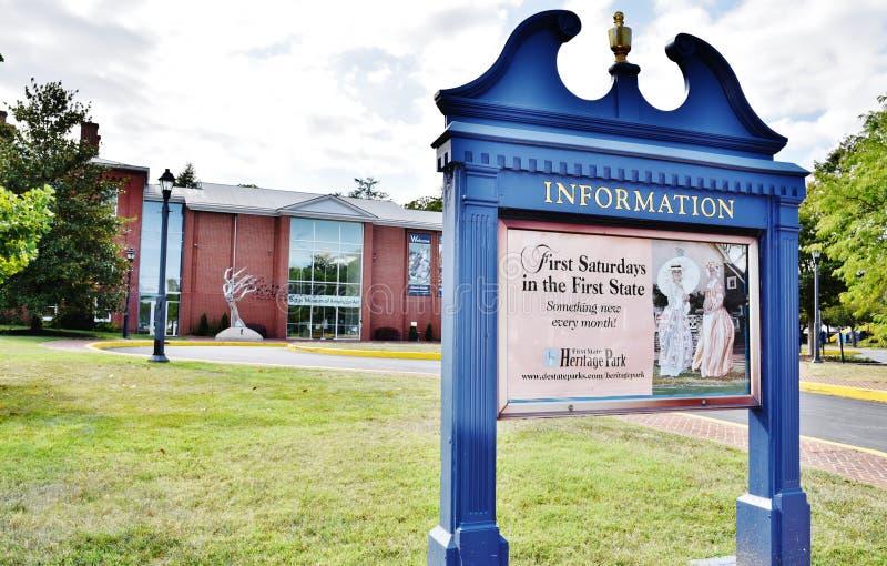 Suporte americano da informação do museu de artes de Delaware fotos de stock royalty free